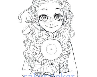 Manga Style Sunflower Girl Printable Coloring Page - PDF Instant Download