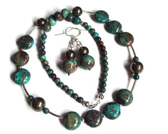 Necklace and earrings in turquoise calsilica gemstone Pyrite and 925 sterling silver, fine and delicate necklace, gift idea for woman she