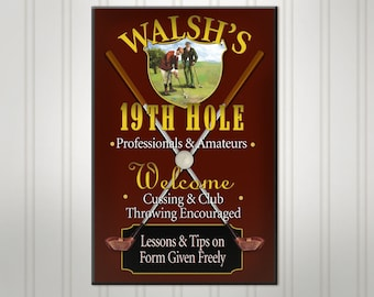 Personalized Golf Sign, Burgundy or Green 19th Hole Man Cave Pub Sign, Personalized Sign, Personalized Beer Sign, Man Cave Bar Decor