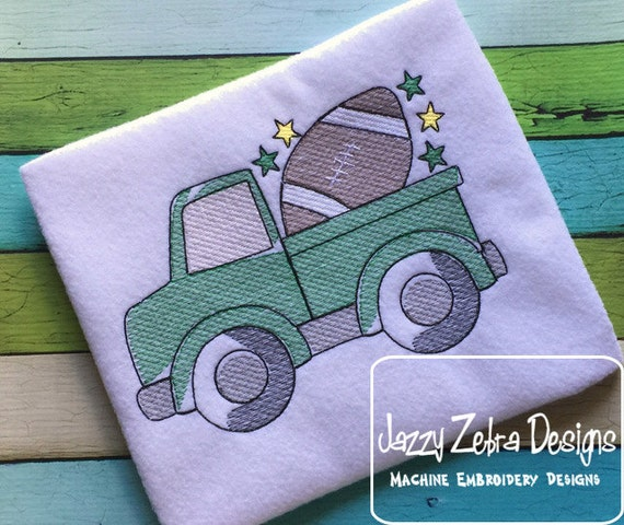 Truck with Football Sketch Embroidery Design - truck Sketch Embroidery Design - boy Sketch Embroidery Design