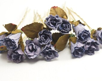Bridal Hair Accessories, Lilac  Rose, Lilac flower Hair Bobby Pin, Brass Bobby pin- sets 6