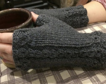 Graceful Fingerless Hand Knit Gloves