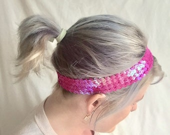 Hot pink sequin headband stretch headband