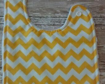 Baby Bib- Yellow and White Chevron Baby Bib, Minky Baby Bib, Baby Girl Bib, Baby Boy Bib, Yellow Baby Bib, Chevron Baby Bib, Personalized