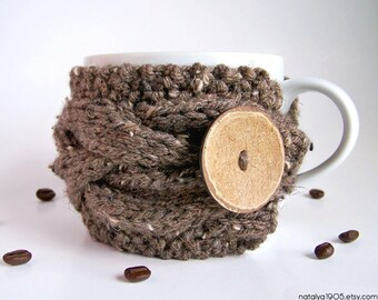 Cup Cozy, Coffee Sleeve, Chunky Knit Coffee Cozy, Tea Cozy, Coffee Mug Cozy Coffee Cup Sleeve Rustic Gifts Under 20 Mug Sweater Coffee Lover