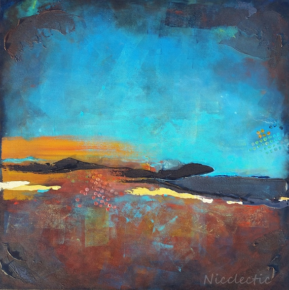 Earth tone abstract art, Texture, blue and gold abstract painting, emotional moody art, 24x24 inch square canvas landscape at night colorful