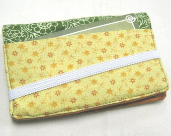 Business Card Holder Mini Wallet- Bifold Inside Outside Wallet in Orange Green and Retro Yellow