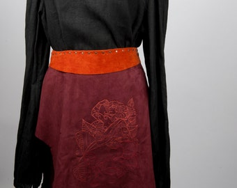 Leather burgundy battle skirt embroidered Dionysus larp man woman female armor armour fantasy costume ancient greek game of thrones pagan