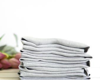 Linen napkins set of 6 - Stone washed linen napkin - Silver grey napkins - Dinner napkins