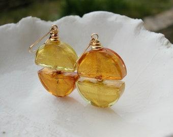 Murano Glass Moon Earrings, Mismatched Earrings