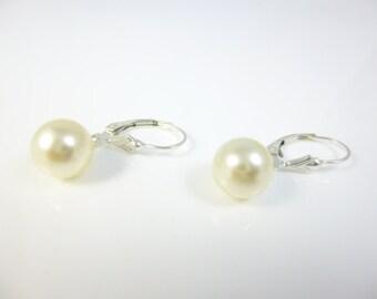 Dangle Pearl Earrings, Pearl Earrings, Sterling Silver, Drop Pearl Earrings, Lever Back earrings