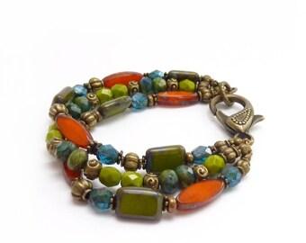 Multi-Color Bracelet - Orange, Lime Green & Teal Picasso Czech Glass Beads - Antique Bronze Clasp - Multistrand Bohemian Bracelet