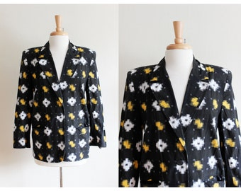 Vintage Yellow & Black Ikat Print Cotton Jacket