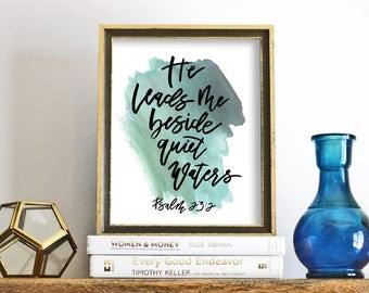 Modern Calligraphy Print, Psalm 23:2 , minimalist print, scripture print, calligraphy wall art, printable scripture