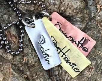 Handstamped Names Necklace, Handstamped Mixed Metal Family Necklace, Handstamped Mother's Necklace