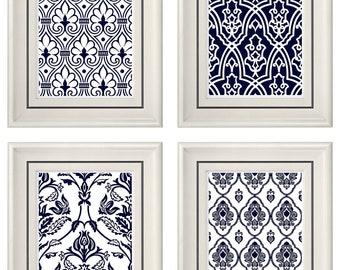 Set of Four Modern Navy Blue Art Print  (Unframed)