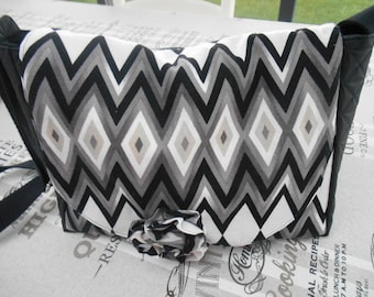 fabric and faux leather bag