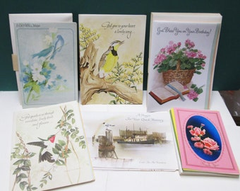 Vintage Greeting Cards 29 Unused Get Well Birthday Thank You Notes Inspirational Religious Ephemera With Envelopes Christian Flowers Bird