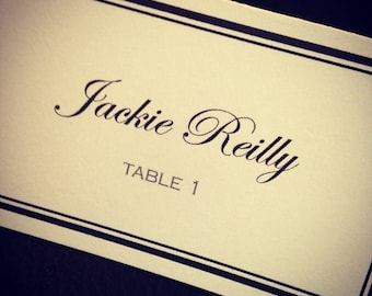 Classic, Tented Place Cards, set of 25 (Black & White) FULLY CUSTOMIZABLE!