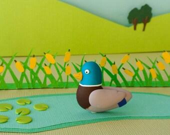 Mallard duck brooch - Spring collection - pond creatures - Emerald green, grey, blue - bird jewelry