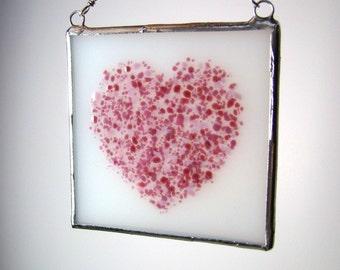 Pink Heart Fused Glass Suncatcher Light Catcher