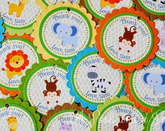 Jungle Safari Favor Tags or Stickers - Set of 12 - Birthday Party Baby Shower Decoration
