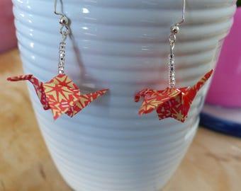 Earrings, origami, crane form, handmade