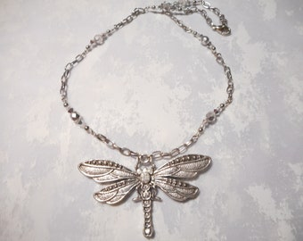 Silver Pewter Dragonfly Necklace