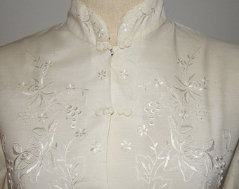 50% On May Daffodil White Ivory Cheongsam Cotton/Polyester Blend Top Blouse Bust 42 Size US 16