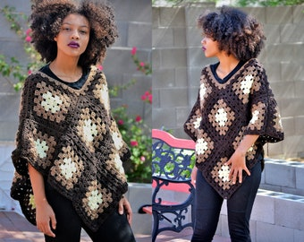 Crochet Brown Ombre poncho