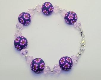 Floral Patterned Beaded Bracelet