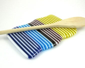 Glass Spoon Rest - Blue, Red, Yellow and White Fused Glass Spoon Rest - Handmade Butter Dish - Striped Butter dish - Contemporary Spoon Rest