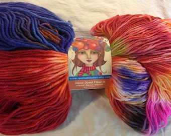 Hand Dyed Superwash Merino & Nylon Wool Sock Yarn- Pop Art Colors
