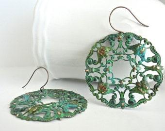 Verdigris Patina Round Brass Filigree Frames Dangle Bohemian Earrings Gypsy Style