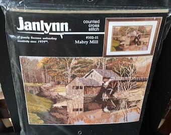 Janlynn Counted Cross Stitch Kit Counted Cross Stitch Kit  102-11 Mabry Mill Lake Scene Boyd Designs 15 x 11 Inch