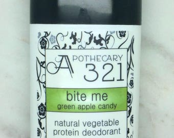 Bite Me Green Apple Candy Scented Natural Deodorant, Aluminum Free, Paraben Free Vegan Deodorant Green Apple Scent
