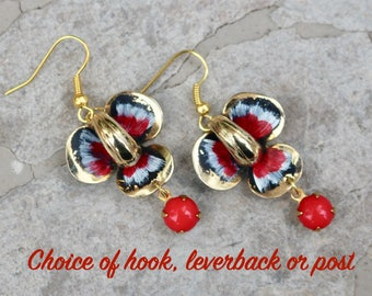 Vintage Enamel Flower Earrings, Upcycled Assemblage Pierced Gold, Red, Glass Drop, Hook, Choice Options, Jennifer Jones, OOAK - Black Iris