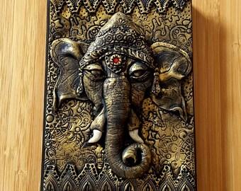 Ganesha, Polymer Clay Bookcover , journal, notebook, Lord Ganesh,Hindu, God, Ganesha journal , ooak,clay art , decorative.