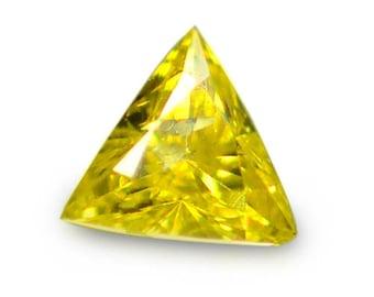 0.05 Ctw Terrific Trillion  Cut Sparking Natural Lusterous Yellow Diamond