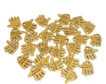 """20 Gold Tone """"Hand Made"""" Hand Charms 12 x 11mm (B131k)"""