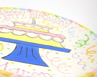 "7 3/4"" Birthday Cake Plate - Personalized Birthday Plate - Hand Painted Ceramic Plate - Special Occasion Plate - Personalized Kids Plate"