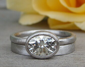 Oval Moissanite Ring - Forever One G-H-I - Recycled 950 Palladium Alternative Engagement Ring and Wedding Band, Matte/Brushed, Made to Order