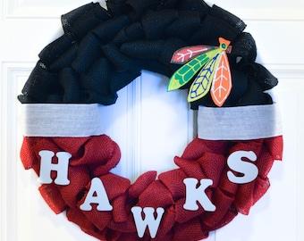 Blackhawks Inspired Wreath, Hockey Wreath, Sports Wreath, Hawks Inspired Wreath, Chicago Blackhawks Inspired Wreath, Blackhawks Decor