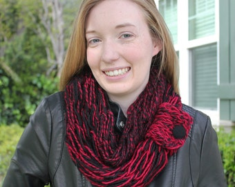 Cranberry and Black Arm Knit Scarf