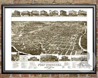 Fort Worth, Texas Art Print From 1886 - Digitally Restored Old Fort Worth, TX Map Poster - Perfect For Fans Of Texas History
