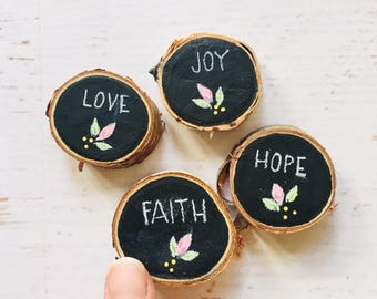 Mothers Day Gift, set of 4 magnets, hand painted wood slices, hand lettered chalkboard, gift under 10 for teacher mom party favors