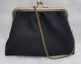 Little Black Kiss Clasp Clutch/ Black Clutch/Kiss Clasp Clutch/Prom Clutch/Evening's Out Clutch Purse/Special Occasions Clutch bag