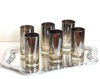 Vintage Barware Set of 6 Mid Century Modern Silver Ombre Glasses Tumblers