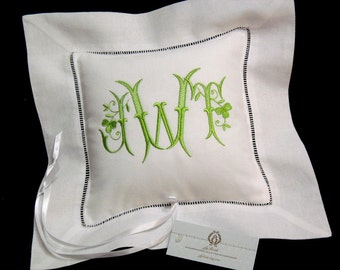 Ring Bearer Pillow, Monogrammed Wedding Pillow, Irish Linen Ring Bearer Pillow, Embroidered Shamrock Ring Cushion, Style 5208, jfyBride