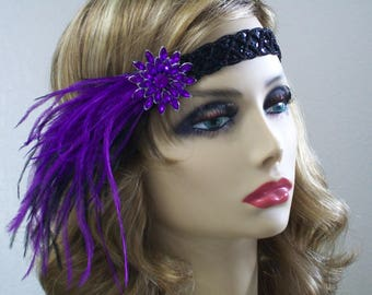 Purple 1920s headpiece, Flapper headband, Flapper headpiece, Great Gatsby,  1920s hair accessory, Roaring 20s, Vintage inspired